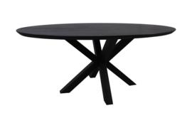 Ovale eettafel Zurich - 180x100x75.8 - Zwart - Swiss edge - Acaciahout