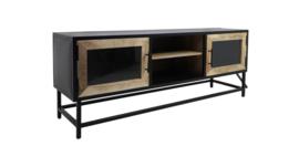 TV-meubel Dublin - 140x40x55 - Ijzer/mangohout - Zwart/naturel