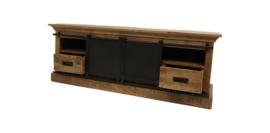 TV-meubel Melbourne - 150 cm - rustiek mangohout/ijzer
