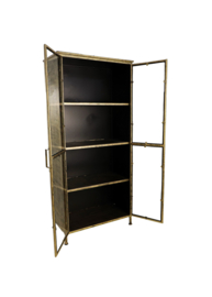 Vitrinekast Fletcher - 80x40x180 - Antique Gold - Metaal/glas
