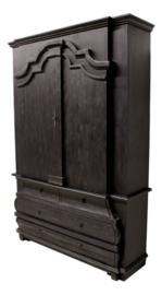 Vitrinekast Durham - worn black/vintage - Gesloten bovenkast