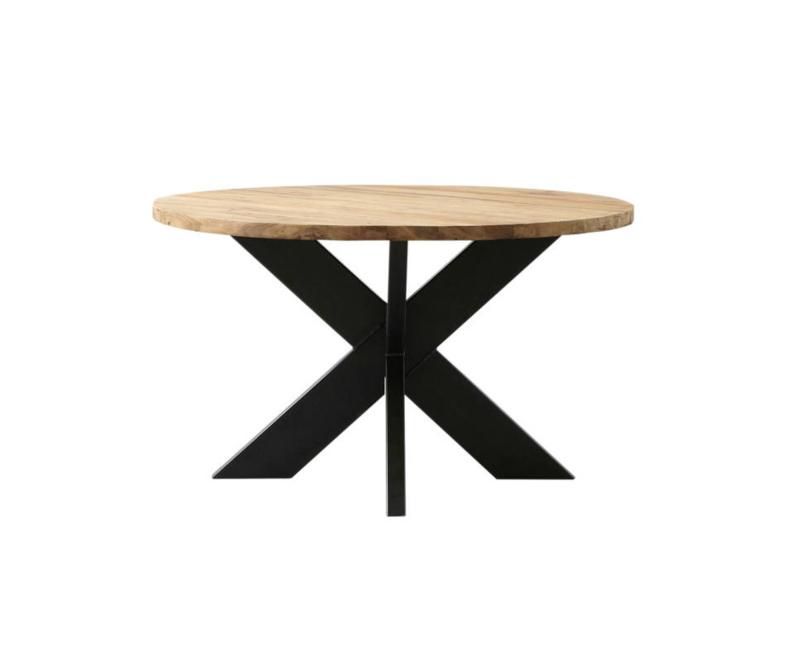 Ronde eettafel - ø130 cm - teak/metaal