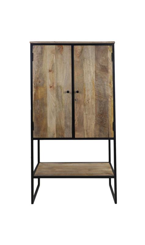 Kast Dublin 2-deurs - 80x40x160 - Naturel/zwart - Mangohout/ijzer