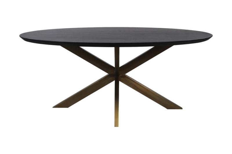 Ovale eettafel Zurich - 180x100x75.8- Zwart/goud - Swiss edge - Acaciahout