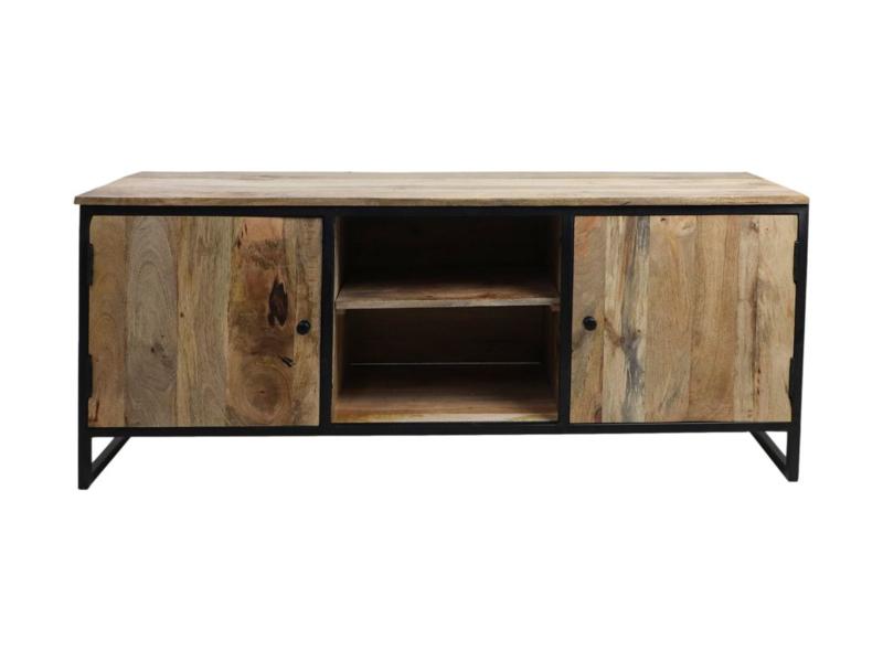TV-meubel Dublin - 140x40x55 - Nautrel/zwart - Mangohout/ijzer