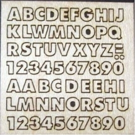 Letters en cijfers 2 mm hoog, ABC 2