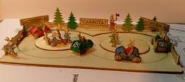 Konijnen racebaan met 4 wagens