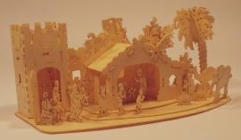 Kerststal met heilige familie en ezel, H15