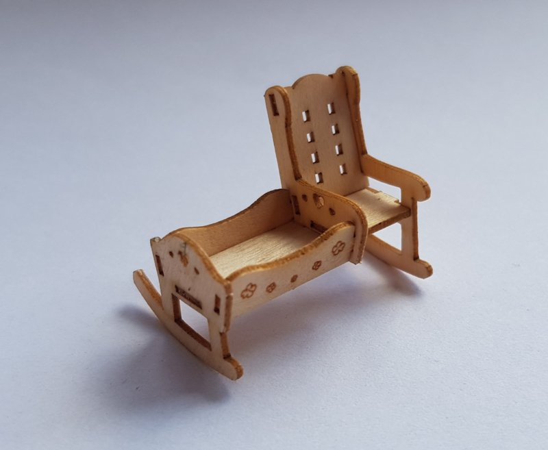 Schommelstoel Met Wieg.Schommelstoel Met Wieg Miniaturen Schaal 1 48 Mw Houtkunst