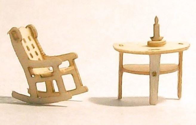 Schommetstoel met halfronde tafel, M107