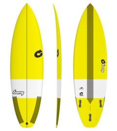 "5'8"" TORQ Comp. TEC surfboard (boardcollor yellow)"