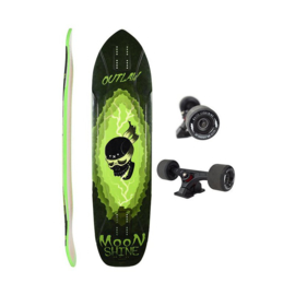 "MOONSHINE Outlaw 38.25""black/green Complete longboard"