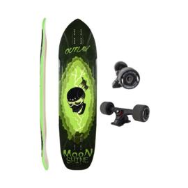 "MOONSHINE Outlaw 38.25""black/green Complete longboard"