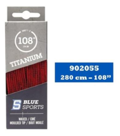 Blue Sports waxed laces red 280cm