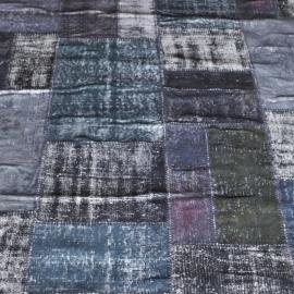 Vintage patchwork Turks Carpet old blue