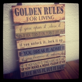 Tekstbord Golden rules