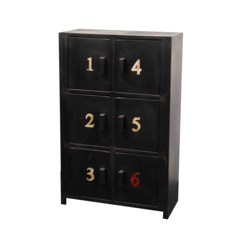 Lockerkast zwart 6 Lockers