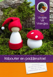 Kabouter en paddenstoel wit