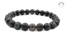 Natuursteen kralen armband black sparkle