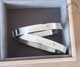 "Stainless steel armbanden set ""Sisters"""
