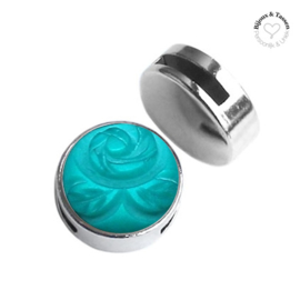 Slider 20 mm Carved Rose matt deep Blue Zircon