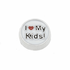 "Floating Locket Charm ""I love my kids"""
