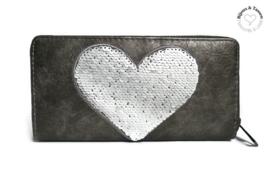 Portemonnee grijs met hart