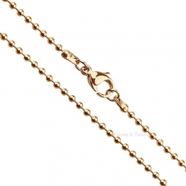 RVS Ball Chain ketting rose goud