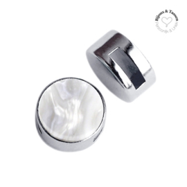 Slider 12 mm Cabochon Polaris Perseo flat White grey