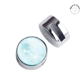 Slider 12 mm plat Parelmoer Soothing sea blue