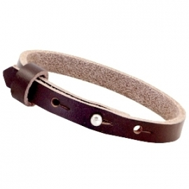 Cuoio armband leer 8 mm French roast brown