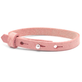 Cuoio armband 8 mm leer Kids Pressed rose red