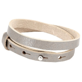 Cuoio armband leer 8 mm dubbel Metallic champagne grey