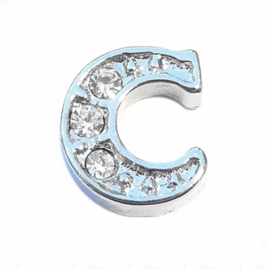 Floating Locket Charm letter C