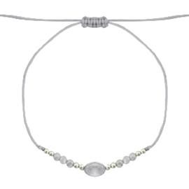 Stone & facetkralen armbandje grijs/goud