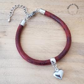 Armband rood met hart of klaver