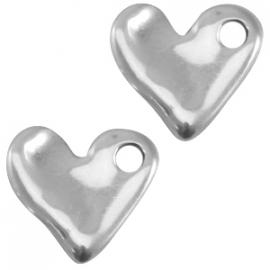 Golvend hart zilver