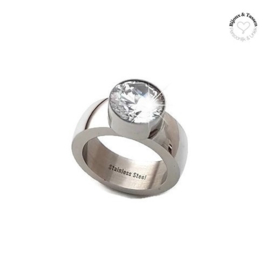 Stainless Steel ring crystal top maat 17
