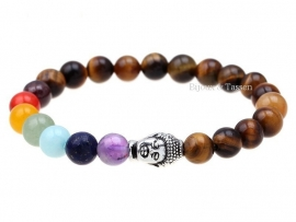 Buddha armband met tijgeroog kralen