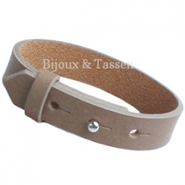 Cuoio armband leer 15 mm Taupe