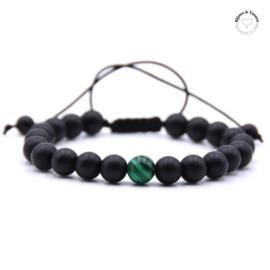 Natuursteen kralen herenarmband zwart/groen