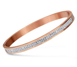 Stainless steel crystal bracelet rose goud