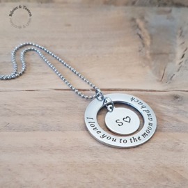 "Ketting ""I love you to the moon and back"" incl. initial bedel"