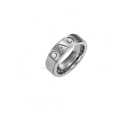 "Stainless steel ring ""DAD"" maat 18"