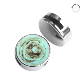 Slider 20mm Polaris elements stone look Turquoise -brown