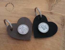 Lederen hart sleutel-/tashanger met tekst click