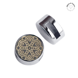 Slider 12 mm cabochon hout mandala dark gray