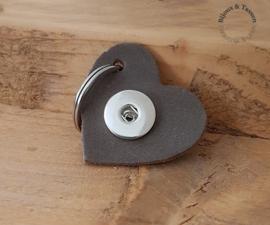 Lederen  hart sleutel/tashanger taupe