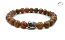 Unakite natuursteen armband met Buddha