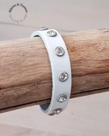 Lederen studsarmband enkel wit